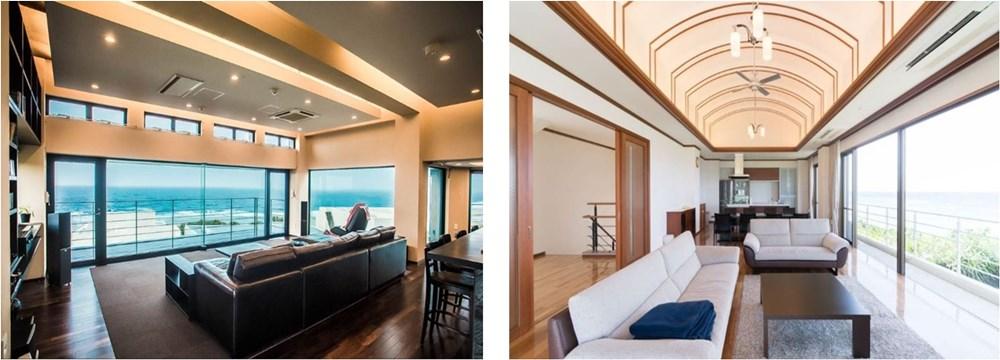 左:沖縄・崎山 ジャグジーのある豪邸 右:沖縄・崎山 オーシャンビューの豪邸